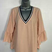 Womens Next Size Uk 14 Pink Blush Casual 3/4 Bell Sleeve v Neck Shirt Blouse Top Photo