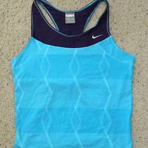 Womens Nike Aqua Blue & Purple Workout Tank Top W/ Shelf Bra Sz Large Photo