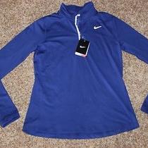 Womens Nike Dri Fit Element 1/2 Zip Long Sleeve Blue Shirt  65 Medium 685910  Photo