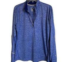 Womens Nike Running Pullover Jacket 1/4 Zipdri-Fit Element Blue Larg Photo