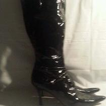 Womens Nine West Black Patent Leather Knee High Boots W/buckles & Pointy Toe 9.5 Photo