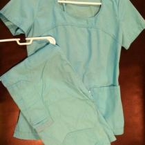 Womens Nursing/medical Skechers Scrubs Set Aqua Blue Sz Xs Soft Touch Photo