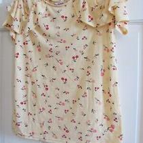 Womens Nwt Juicy Couture Top Shirt Size S Split Ruffle Sleeve Yellow & Cherries Photo