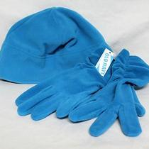 Womens Old Navy Aqua Blue Fleece Hat & Gloves Nwts Photo