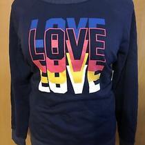 Womens Old Navy Blue Sweatshirt Pink Mustard White Love Heathered Trim Sz Xl New Photo