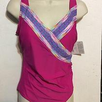 Womens One Piece Swimsuit Gathered Front by Gottex Heritage Sz 10 (Nwt) Pink Photo