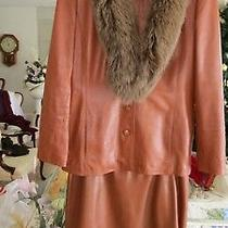 Womens Orange Leather Suit by Noviello Bloom W/ Detachable Fur Collar 10 / 12 Photo