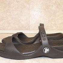 Womens Original Crocs Black Flats Slip on Scandals Shoes Sz 7 Photo
