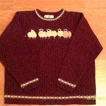 Womens Orvis Soft Lambs Wool Sweater With Lambs Sz L Photo