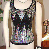 Womens Outfit Lot-3pc.  Sequined Top-S- Express Bracelet- Nwt Necklace Set Photo