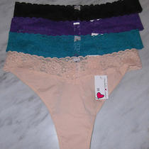 Womens Panties Lot 4 Plus Size Thongs Cosabella Nude Purple Blue Black 1x New Photo