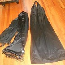 Womens Papell Boutique Black Halter Full Lengh Evening Gown/scarf Ladies 12 Photo