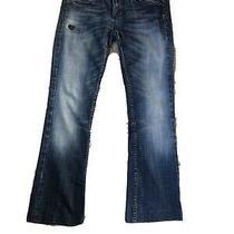 Womens Petite Rerock for Express Boot Cut Flap Pocket Denim Blue Jeans Size 4 Photo