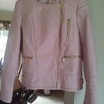 Womens Pink Blush Faux Leather Calvin Klein Motorcycle Jacket Size M Photo