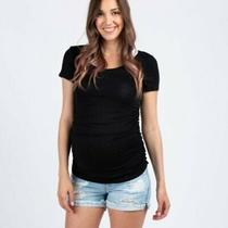 Womens Pink Blush Maternity Jean Shorts Distressed Frayed Hem Size Medium Euc Photo