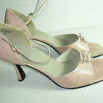 Womens Pink Leather Bandolino Open Toe High Heels Pumps Career Shoes Size 8.5 M Photo