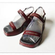 Womens Platform Shoes Sandals Open Toe Fashion Strap Sz 7 Wedge Vegan Rampage Photo