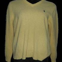 Womens Polo Ralph Lauren Yellow 100% Lambs Wool v-Neck Sweater Sz Xl Photo