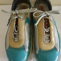 Womens Prada Bowling Shoes Teal With Laces Sz 35.5 Photo