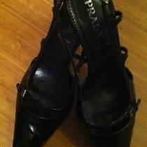 Womens Prada Shoes Black Kitten Heel Leather Dress Slingback Size 37 1/2/ Us 7.5 Photo
