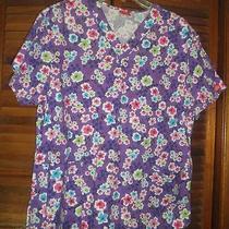 Womens Purple Flowered Scrub Top-Dickies Size Small- Photo