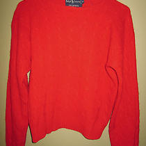 Womens Ralph Lauren 100% Cashmere Red Cable Sweater Medium Photo