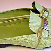 Womens Ralph Lauren Shoes Green Leather Slip-Ons Mules 'Carriel' Size 6.5m New Photo