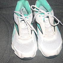 Womens Reebok 8 1/2 Runtone Cross Trainer Shoe White Mesh/leather/aqua Trim Nice Photo