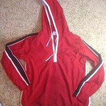 Womens Reebok Pullover Red Jacket Size Large 1/4 Zip  Hoodie Ked Photo