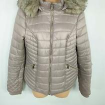 Womens River Island Uk 12 Blush Pink Quilted Faux Fur Hood Puffer Jacket Coat  Photo