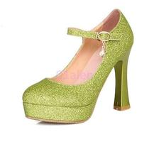 Womens Round Toe Platform High Heel Mary Janes Rhinestones Wedding Shoes 4-10.5 Photo