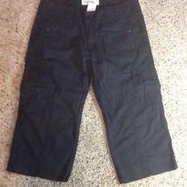 Womens Roxy 3/4 Length Cargo Shorts Size 3  Mini Bermuda Length. Black. Ked Photo