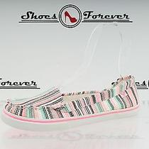 -Womens Roxy Multi-Color / Stripes Fabric Flats Sz. 7 New Photo