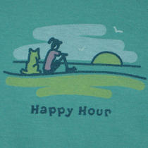 Womens S Life Is Good Happy Hour Sunset Jackie & Rocket Dog S/s Tee on Aqua Nwt Photo
