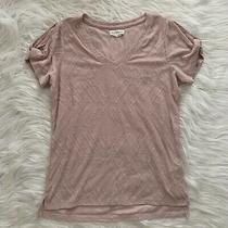 Womens S Small Peace & Pearls Blush Pink v-Neck Knotted Sleeve Tee Shirt Top Photo