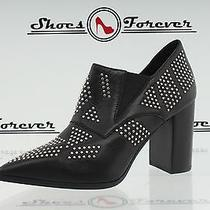 -Womens See by Chloe Black / Silver W/ Studs Leather Ankle Booties Sz. 38 New Photo