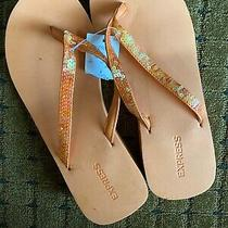 Womens Sequence Express Orange Cushioned Flip Flops Sandals Nwt Size 8 Photo