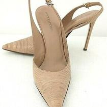 Womens Sergio Rossi Eu 36.5 Us 6.5 Beige Leather Sling Back Stiletto Heels Shoes Photo
