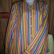Womens Shirt Ralph Lauren Size-M- L/s Button Front Multi Color Ecu224  Photo