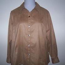 Womens Shirt Top Liz Claiborne Tan Faux Suede Shirt Jacket Plus Size 1x   Photo