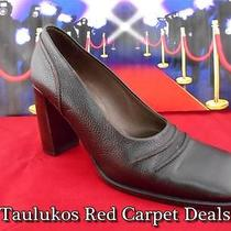 Womens Shoes Bally High-End Brown Leather Chunky Heel Pumps Italy Us 7.5 Eur 5 M Photo