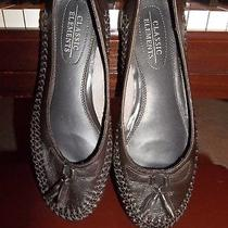 Womens Shoes Classic Elements Brown Leather Loafer Woven Flats 7.5m Photo