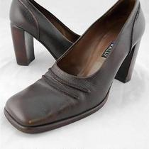 Womens Shoes High-End Bally Italy Brown Leather Heels Pumps Sz Us 7.5 Eur 5 M Photo