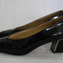 Womens Shoes Joel Parker Black Patent Leather Low Heel Pumps Size 7.5 B Medium Photo