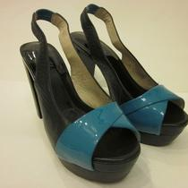 Womens Shoes Michael Kors Platform Pumps Aqua Leather Size 6 Heels Euc Slingback Photo