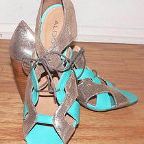 Womens Shoes Turquoise Gold Lace Up Aldo Heels Sandals Size 39/8 Leather 3.5
