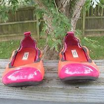 Womens Simply Vera Wang Ballet Flats Sz 7 M Bright Colorful Shoes Orange Pink Photo