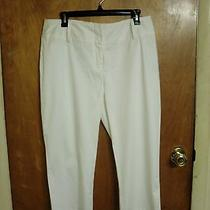 Womens Size 10 Nicole Miller Capris Cropped Pants - White- Gently Worn  Photo