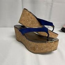 Womens Size 37 Jimmy Choo Wedge Blue Sandal Photo