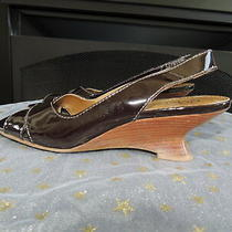 Womens Size 7.5 M  Franco Sarto  Black Leather Kitten Heel Wedge Sandals Photo